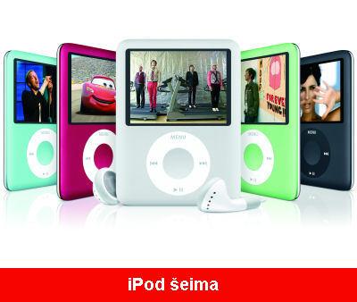 iPod mini, iPod nano, iPod shuffle and iPod touch