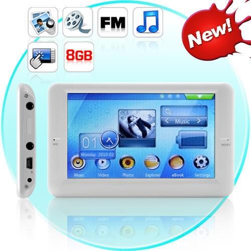 """MP4 Grotuvas White 8Gb + TV OUT 4.3"""" TouchScreen"""