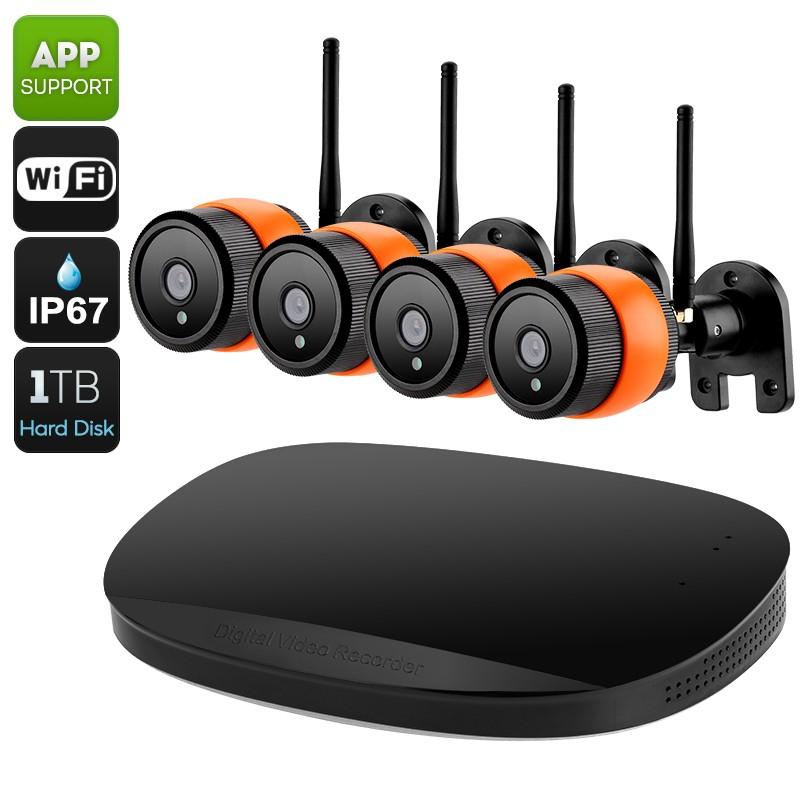 4 Lauko Kamerų Apsaugos Sistema + NVR + 1Tb HDD (Wifi, 1080P, IP67, 30m Night Vision)