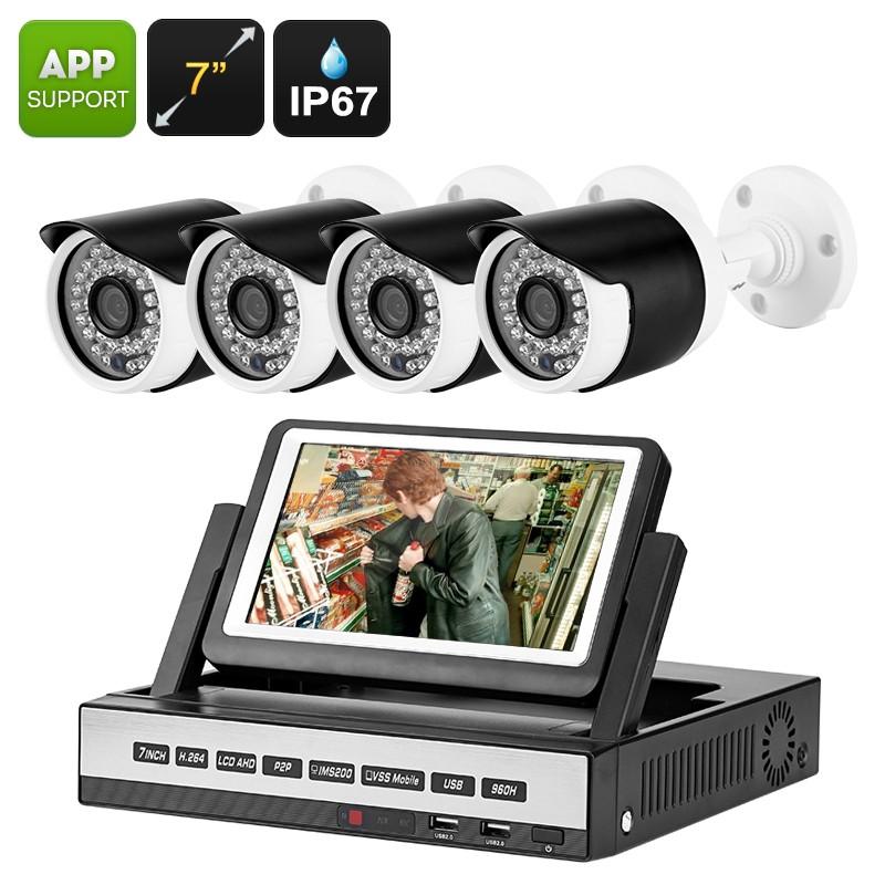 """Lauko Kamerų Apsaugos Sistema - 4 Analoginės kameros (720p), Įrašymo Įrenginys su 7"""" LCD ekranu (Judesio aptikimas, naktinis matymas, Android/iOs palaikymas)"""