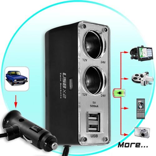 Automobilinis USB Pakrovėjas ir Šakotuvas (Dual USB, Dual DC)