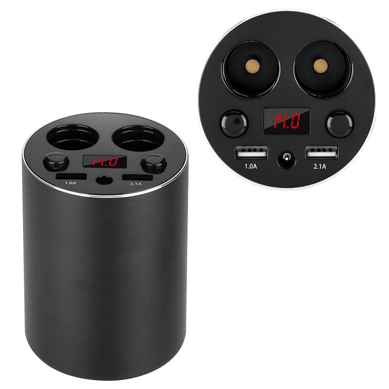 Automobilinis USB Pakrovėjas, Šakotuvas, Skaitmeninis Voltmetras (2x USB 3.1A)