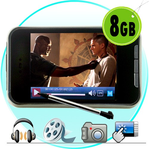 8GB TouchScreen MP4 Grotuvas - Vaizdo Kamera (+Gold Earphones)