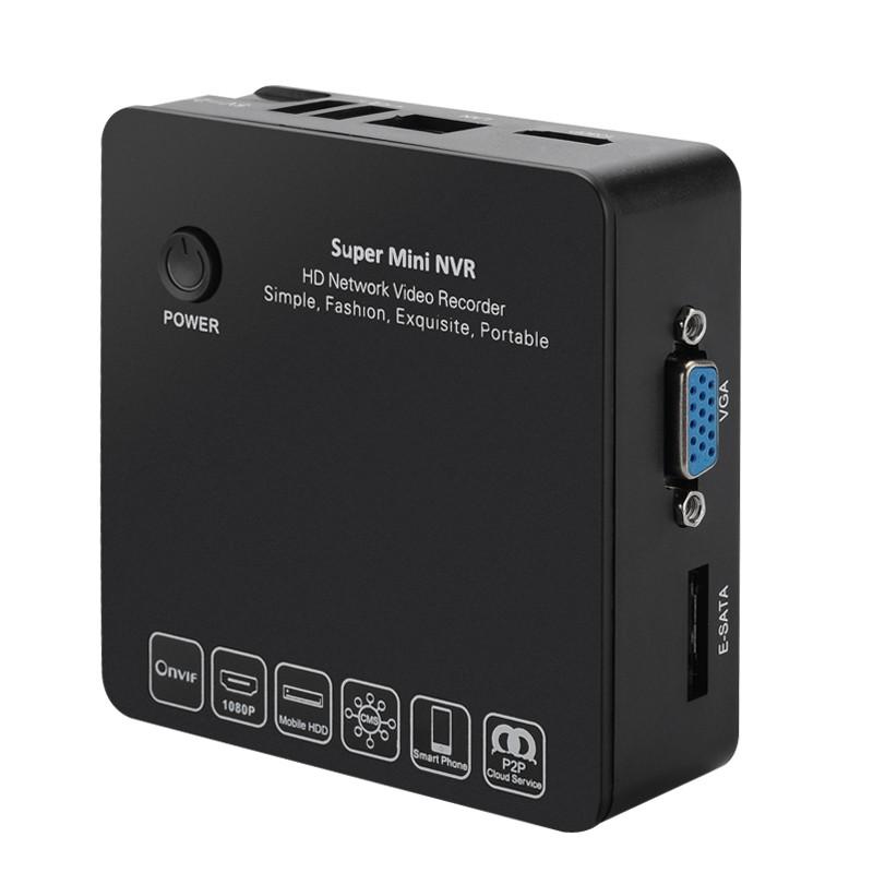 """4 Kanalų mini įrašymo Įrenginys (NVR) """"Box-Watch"""" (ONVIF, Cloud P2P, 1080p/960p/720p, E-SATA HDD)"""