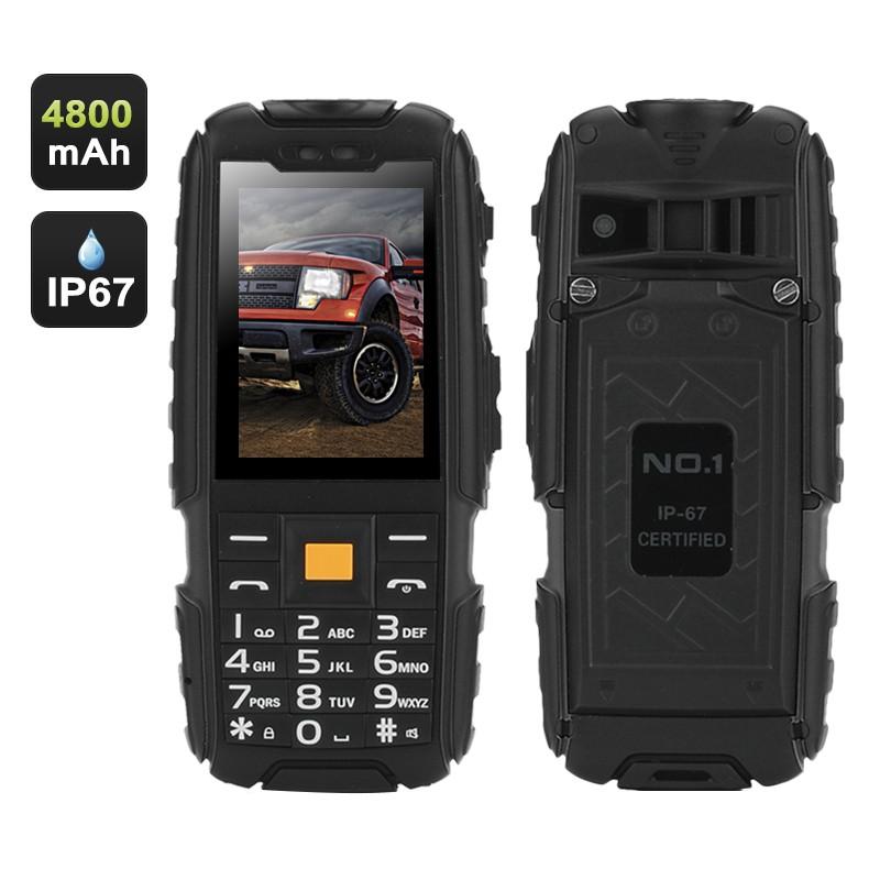 """Darbinis Telefonas """"NO.1 A9 GSM Phone"""" IP67 - 4800mAh baterija, FM radijas, LED Prožektorius"""