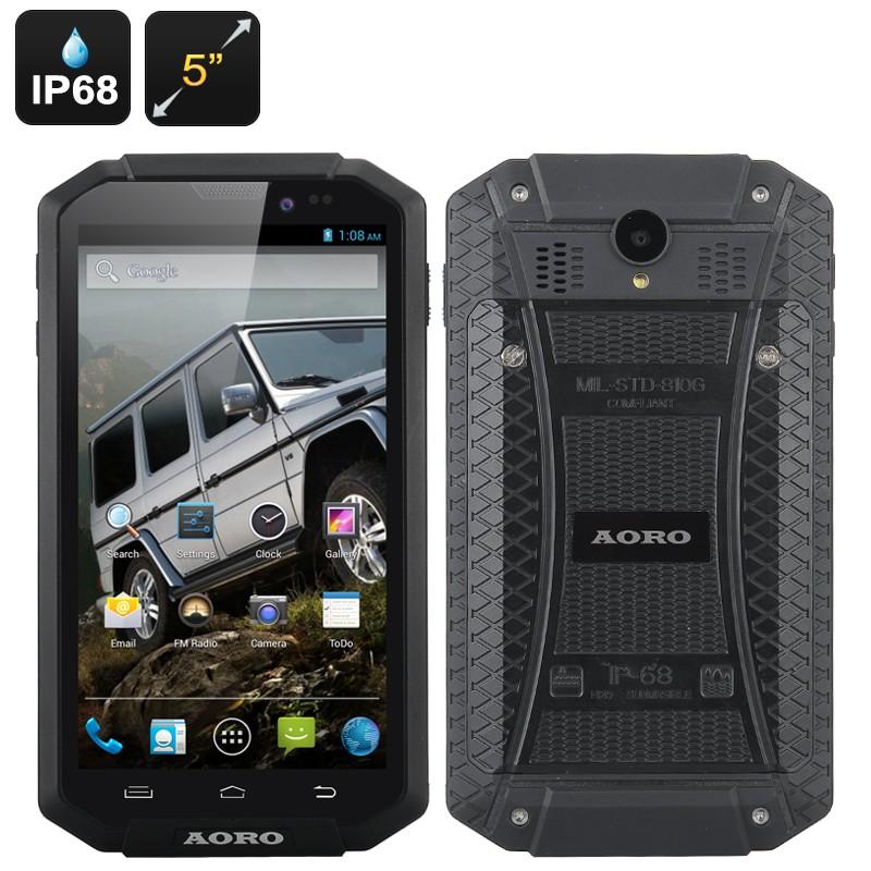 """Išmanusis Telefonas """"Aoro I5"""" - IP68 Atsparumas, 5"""" OGS ekranas 1280x720, Android 4.2 OS, 4000mAh baterija"""
