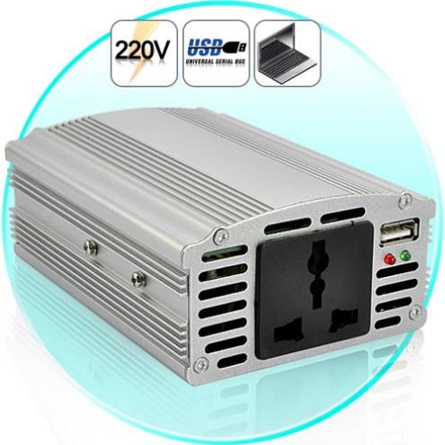 500W Įtampos Keitiklis - Konverteris Automobiliui (12V-220V +5V USB Jungtis)
