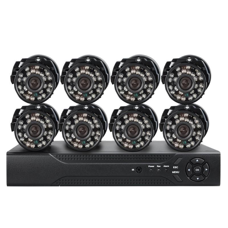 8 Analoginių Lauko Kamerų IP Apsaugos Sistema DVR CCTV (H264, Night Vision, HDMI, 24 IR LED 20M Night Vision)