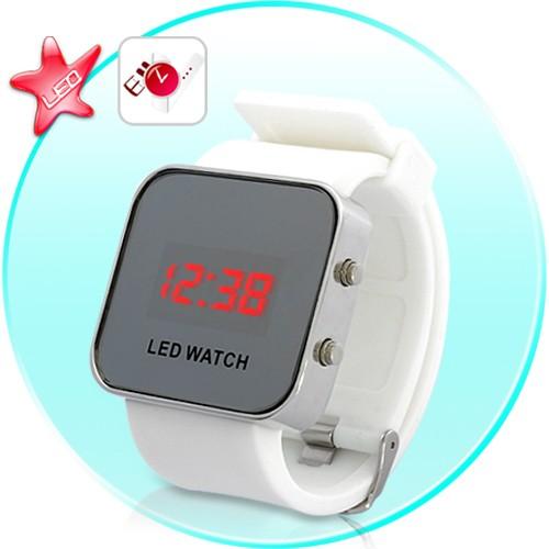 Moteriškas Veidrodinis LED Laikrodis Su Balta Silikonine Apyranke