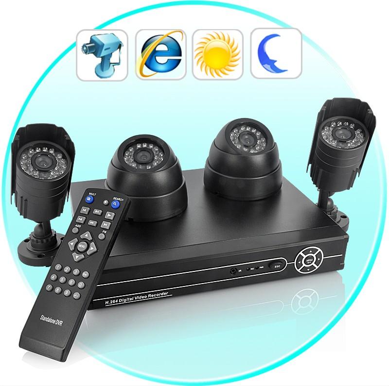4 Lauko Ir Vidaus Kamerų Namų Apsaugos Sistema