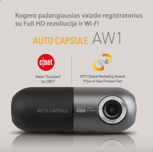 Vaizdo registratorius Autocapsule AW1 Full HD 1080p su 16 GB microSD ir WiFi
