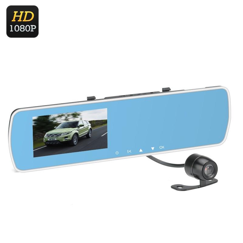 """Vaizdo registratorius-veidrodis su galinio vaizdo kamera - 1080p, 140° filmavimo kampas, 4,3"""" LCD ekranas, G-Sensorius"""