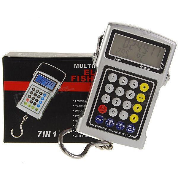 7-in-1 50kg Elektroninės Svarstyklės (Termometras, Laikrodis)