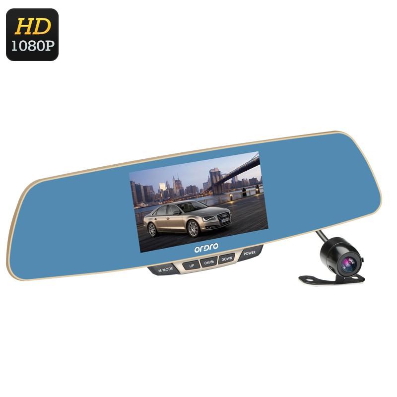 """2 Kamerų Vaizdo Registratorius """"Ordro T2"""" Su Galinio Vaizdo Veidrodėliu - 1080p FULL HD, platus 170 filmavimo kampas, G-Sensorius"""