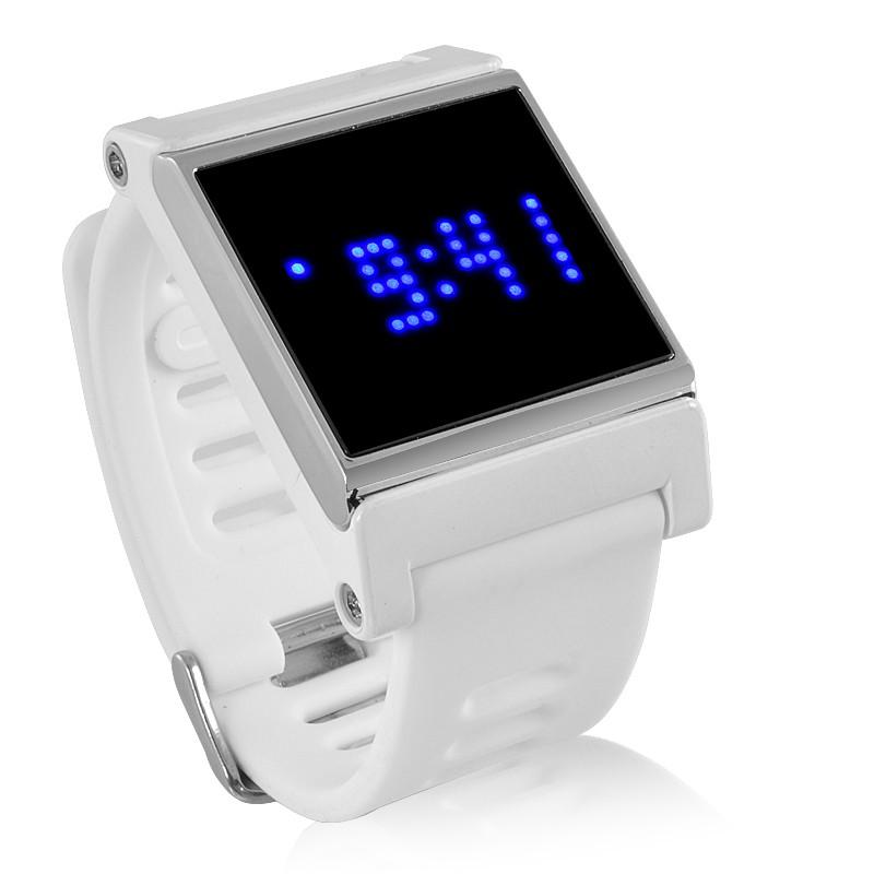 LED Laikrodis Su Mėlynomis Šviesomis Bei Liečiamu Ekranu