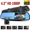 """Full HD Vaizdo Registratorius Su Galinio Vaizdo Veidrodžiu (4,3"""", 2 kameros, 1080P)"""