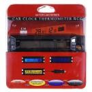 Elektroninis automobilinis termometras + Skaitmeninis Laikrodis + Įtampos matuoklis akumuliatoriui