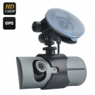 """Vaizdo Registratorius su 2 Kameromis (2.7"""" LCD, GPS, G-Sensor, HD 1080p, Judesio Aptikimas)"""