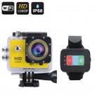 "Veiksmo kamera su pulteliu ""Q3"" Full HD 1080P - 170°, 12MP, 2"" LCS, Wi-Fi, iOs+Android App (Geltona)"
