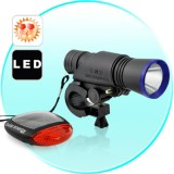 Universalūs LED Dviračio Žibintai Su Saulės Baterija (Komplektas)